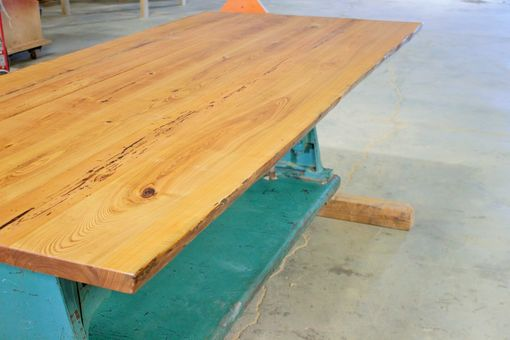 Custom Made Reclaimed Live-Edge Table W/ Industrial Base