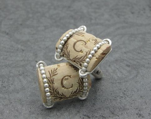 Custom Made Recycled Wine Cork And Sterling Silver Cufflinks