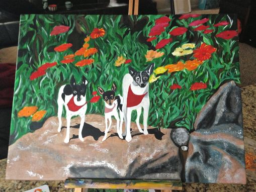 Custom Made Family Pet Portrait In Acrylic On Canvas