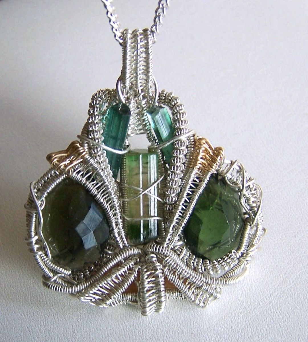 Hand made moldavite pendant crystal wire wrap watermelon custom made moldavite pendant crystal wire wrap watermelon tourmaline bi color necklace aloadofball Gallery