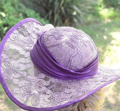 Custom Made Elegant Formal Wide Brim Summer Sun Hat Flowers Lace Shabby Chic