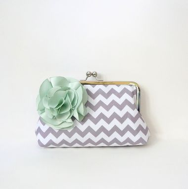Custom Made Gray And Mint Green Clutch Purse With Flower