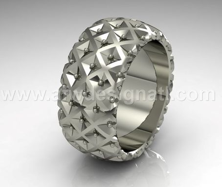 Custom Made Carved Ring With Dots And Squares