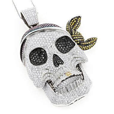 Custom Made Diamond Pirate Skull Pendant
