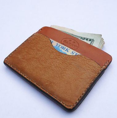 Custom Made Garny №11 - Whiskey Color Minimalist Wallet From Bison And Cow Hide