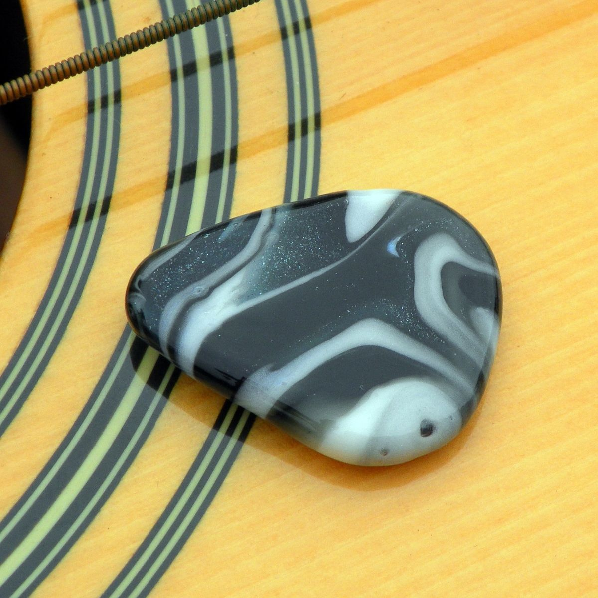 Hand Made Hand-Blown Glass Guitar Pick In Blue Swirls By