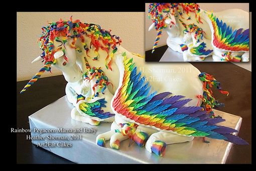 Custom Made Rainbow Pegacorn Mama&Baby Cake