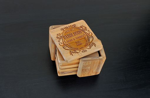 Custom Made Custom Bamboo Coasters, Custom Engraved Coasters --Cst-Bam-Haroldson