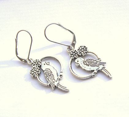 Custom Made Bird On A Wire Silver Earrings