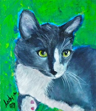 Custom Made Grey Cat, Greystoke - Unique Cat Painting From Photos