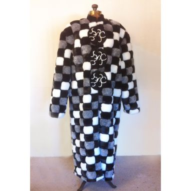 Custom Made Faux Fur Long Coat With Cast Pewter Clasps