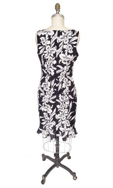 Custom Made Hawaiian Tank Top Dress With Hibiscus Floral Print And Flounce Bottom - Black