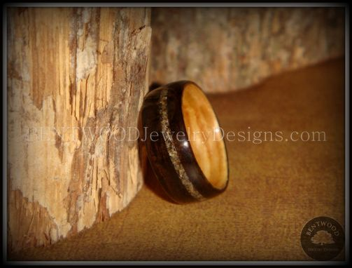 Custom Made Macassar Ebony Wood Ring With Olive Wood Liner And Canadian Beach Sands Inlay
