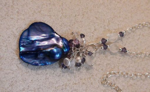 Custom Made Baroque Royal Blue Pearl With Iolite, Amethyst & Rainbow Moonstone Gem Cluster In Sterling Silver