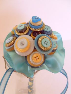 Custom Made Teal And Gold Buttons Wedding Toss Bouquet