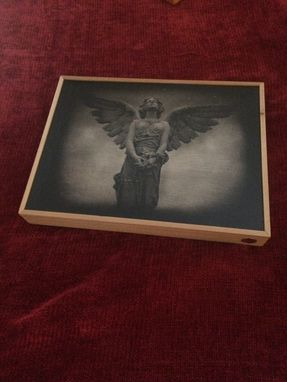 "Custom Made Sepia ""Ish"" Angel Transfer On Wood With Oak Frame"