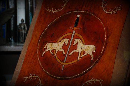 Custom Made Original Celtic Horses Leather Table In-Lay