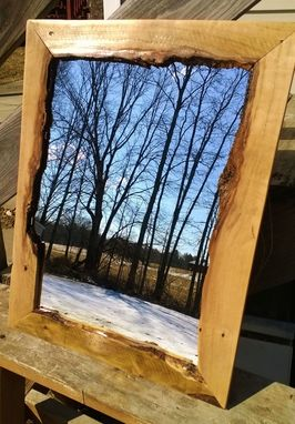Custom Made Live Edge Recycled Pallet Hardwood Hanging Wall Mirror