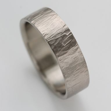 Custom Made Men's Wood Textured Wedding Band
