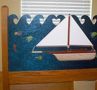 Custom Made Child's Oak Sailboat Bed