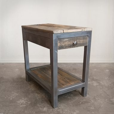 Custom Made Reclaimed Wood / Steel Side Table With Drawer