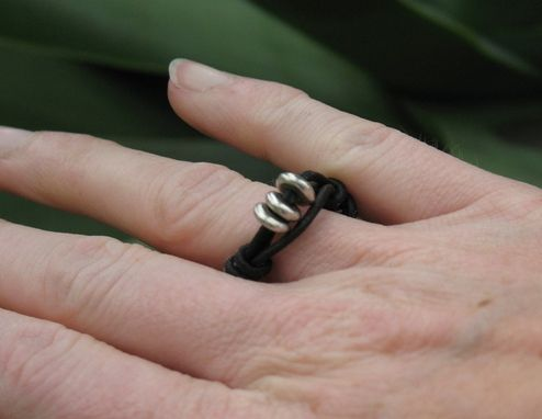 Custom Made Ring / Adjustable Ring: Black Leather With Three Silver Beads