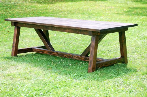 Custom Made Rustic 4 X 4 Truss Beam Dining Room Table & Bench Set