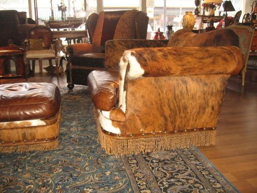Custom Made Hair Hide And Twisted Leather Fringe Chair And A Half With Matching Ottoman