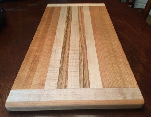 Custom Made Butcher Block Cutting Board Made From Tiger Maple Cherry And White Oak