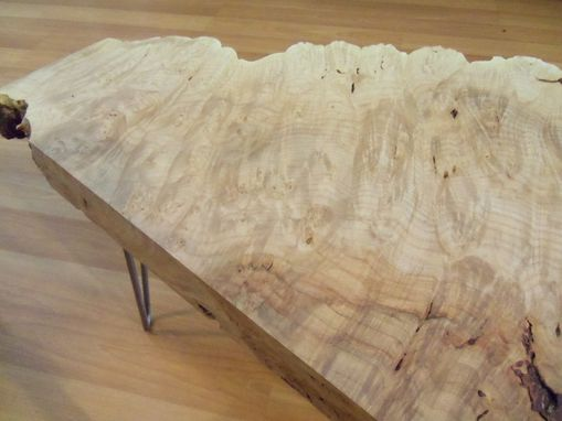 Custom Made Live Edge Maple Burl Coffee Table With Hairpin Legs