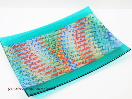 Custom Made A Large Fused Glass Platter In A Chevrons Technique