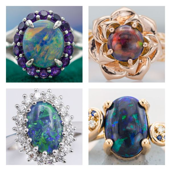 Black opals show vivid color play (blues, greens, oranges, and reds) in these engagement rings.