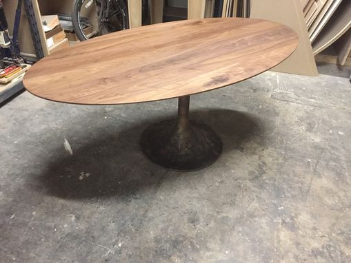 Custom Made Oval Walnut Table With Trumpet Base