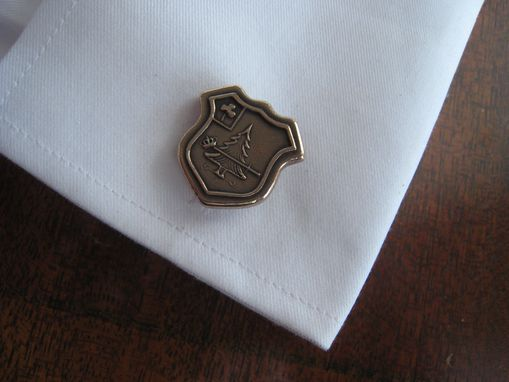 Custom Made Solid Bronze Cuff Links Cufflinks Coat Of Arms Family Crest Heraldic Design
