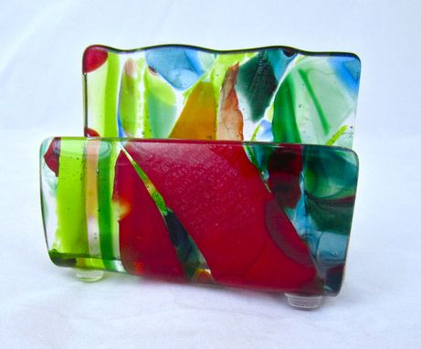 Custom Made Fused Glass Business Card Holder