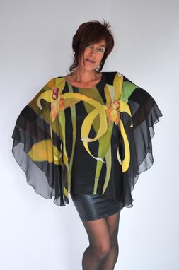 Custom Made Hand Painted Silk Poncho