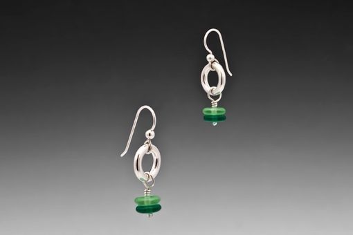 Custom Made Chunky Emerald Green Drop Earrings, Sterling Silver, Czech Glass