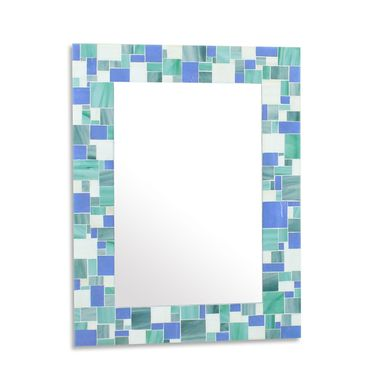 Custom Made Decorative Mosaic Beach Bathroom Wall Mirror In Blues, Sea Green And White Stained Glass Tiles