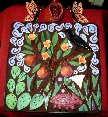 Custom Made Pomegranate And Black Bird Mosaic Framed Wall Hanging