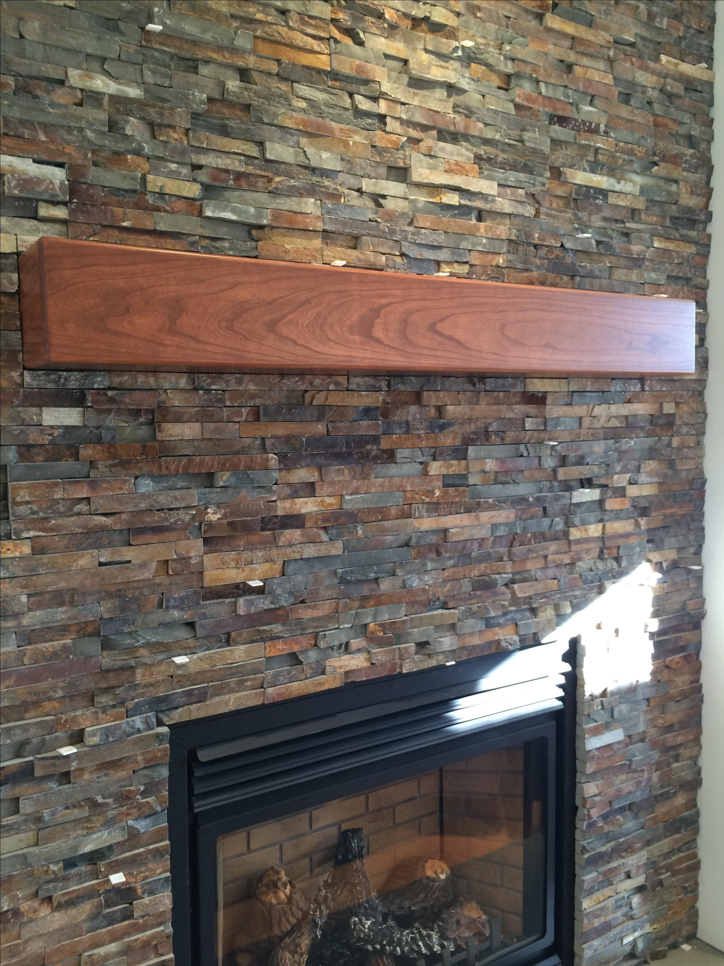 handmade cherry modern beam fireplace mantel by custom corners