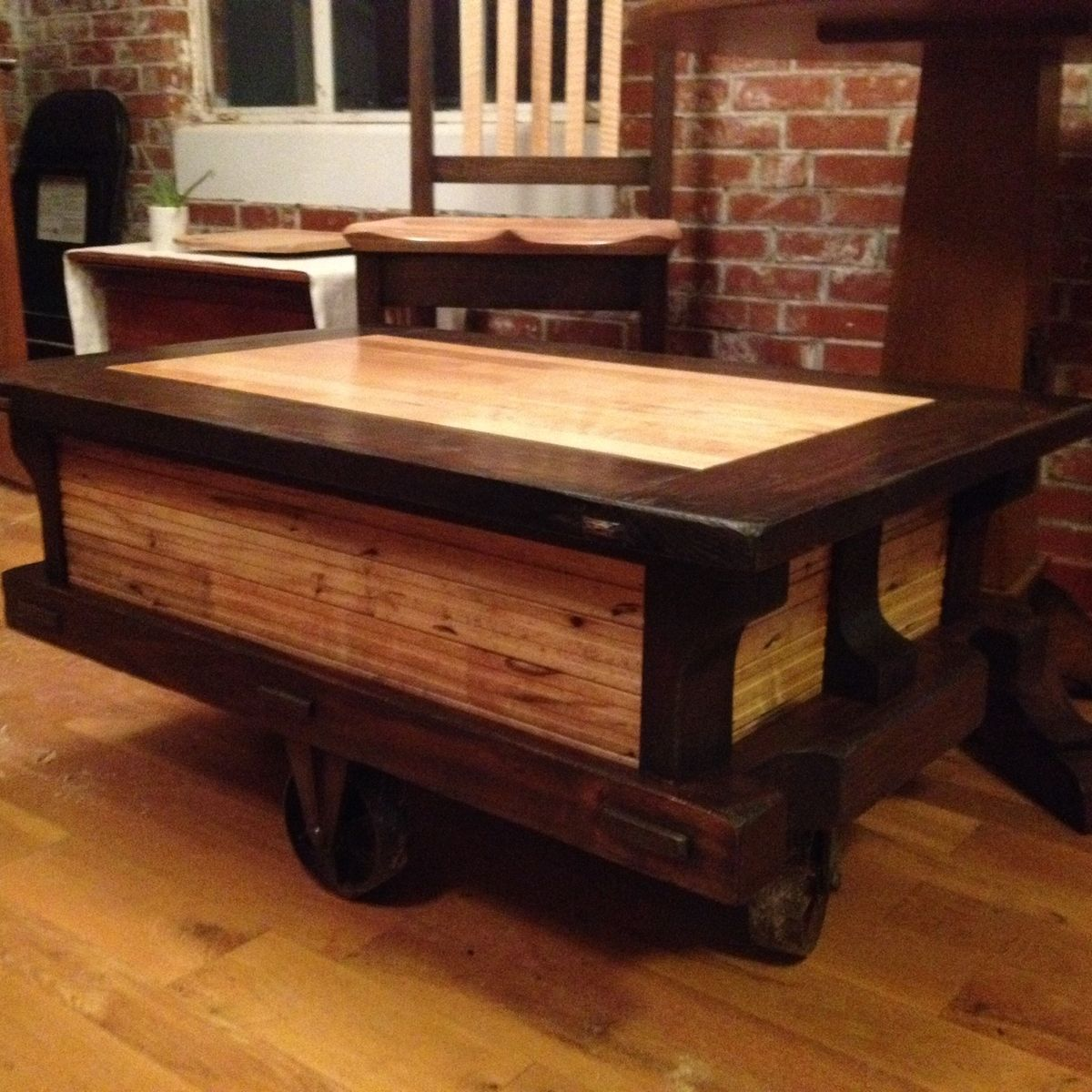 Hand Crafted Reclaimed Flooring Coffee Table By JB Madison