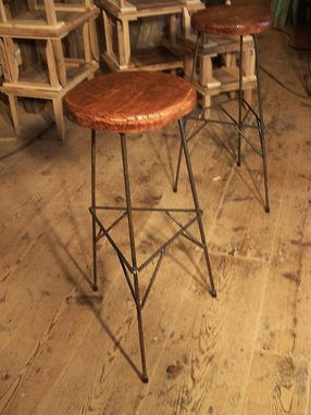 Custom Made Extra Tall Reclaimed Wood Bar Stools With Metal Legs