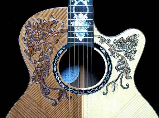 "Custom Made Blueberry ""Split-Top"" Floral Motif Acoustic Guitar"