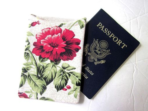 Custom Made Handmade Passport Cover / Sleeve Beige With Red Floral