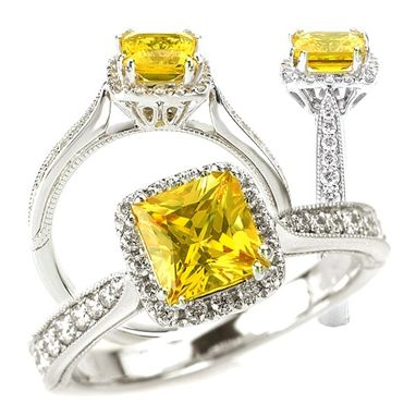 Custom Made 18k Created 5.5mm Princess Cut Yellow Sapphire Engagement Ring With Natural Diamond Halo