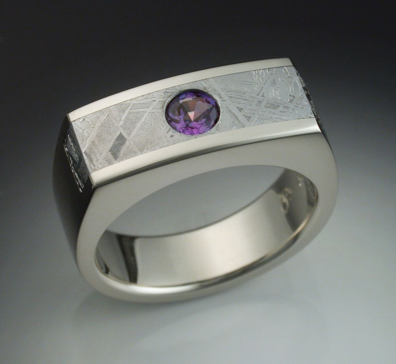 Mans Ring With Alexandrite And Meteorite