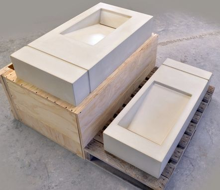 Custom Made Custom Concrete Ramp Sinks With Interlocking Shower Panel Grooves