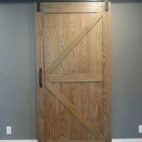 Distressed Red Oak Barn Door Slider