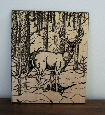 Custom Made Handmade Wood Deeply Carved Deer / Wall Art Hanging