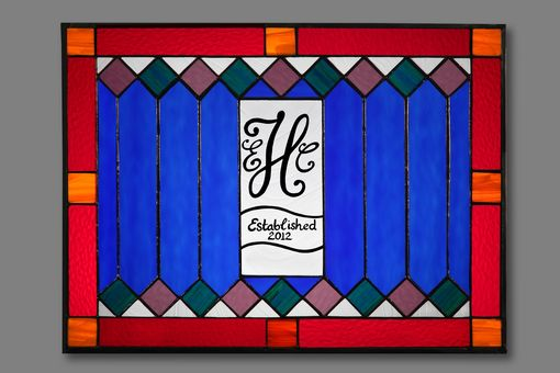 Custom Made Stained Glass Window With Monogram